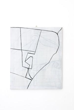 Selfportrait (planimetria), acrylic paint on wood, cm 60 x 50, 2011